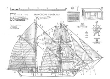 Transport Baykal High detailed scale ship model plan
