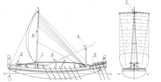 Ancient Egypt ship model plans (part of full plan)